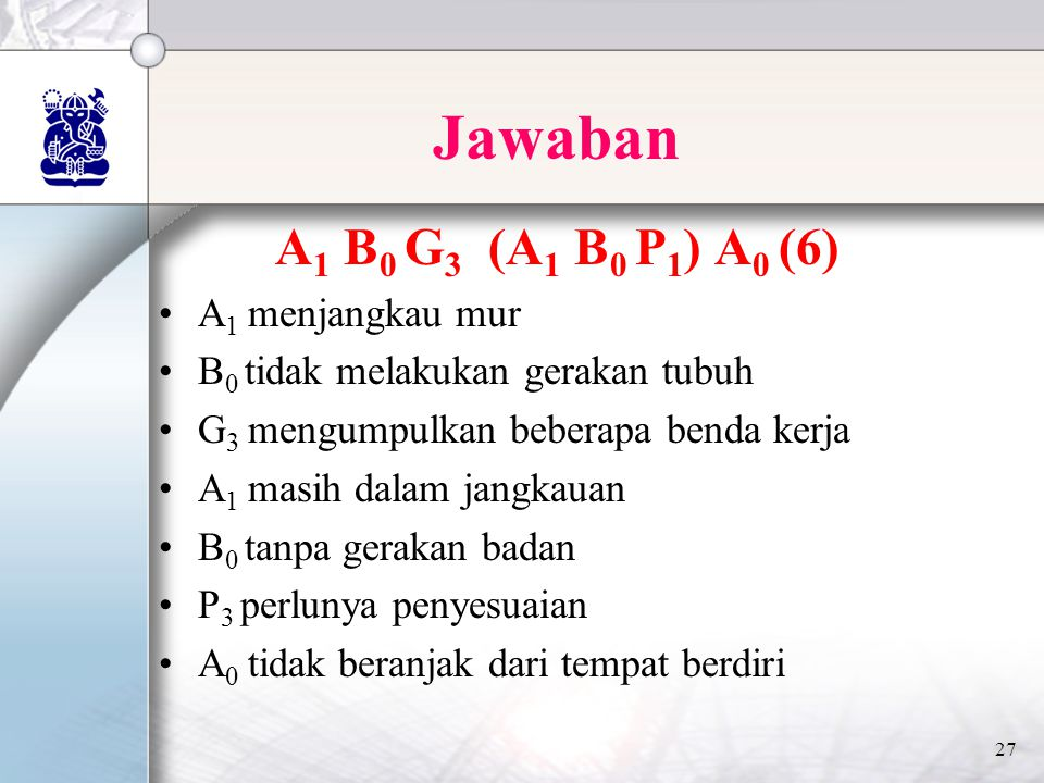Jawaban A1 B0 G3 (A1 B0 P1) A0 (6) A1 menjangkau mur