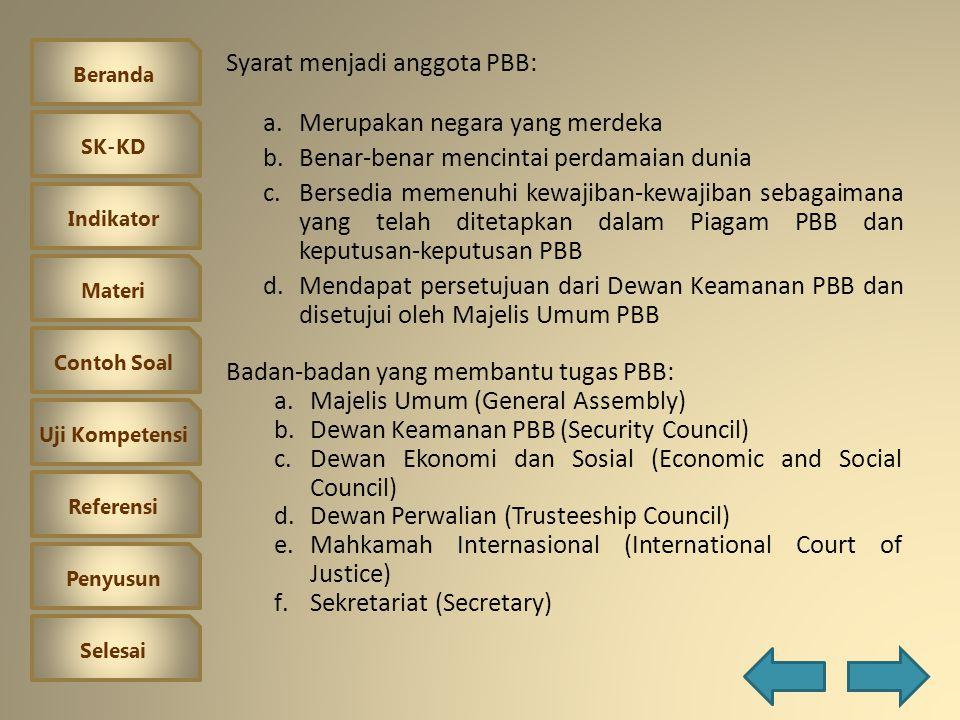 Syarat menjadi anggota PBB:
