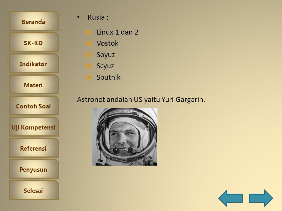 Rusia : Linux 1 dan 2 Vostok Soyuz Scyuz Sputnik Astronot andalan US yaitu Yuri Gargarin.