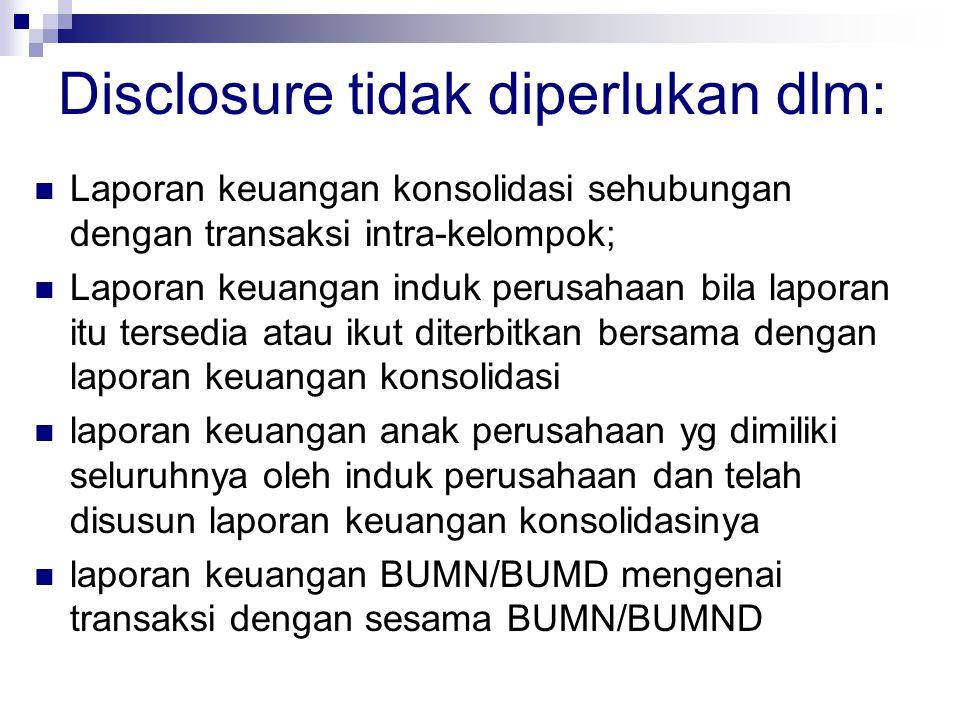 Disclosure tidak diperlukan dlm: