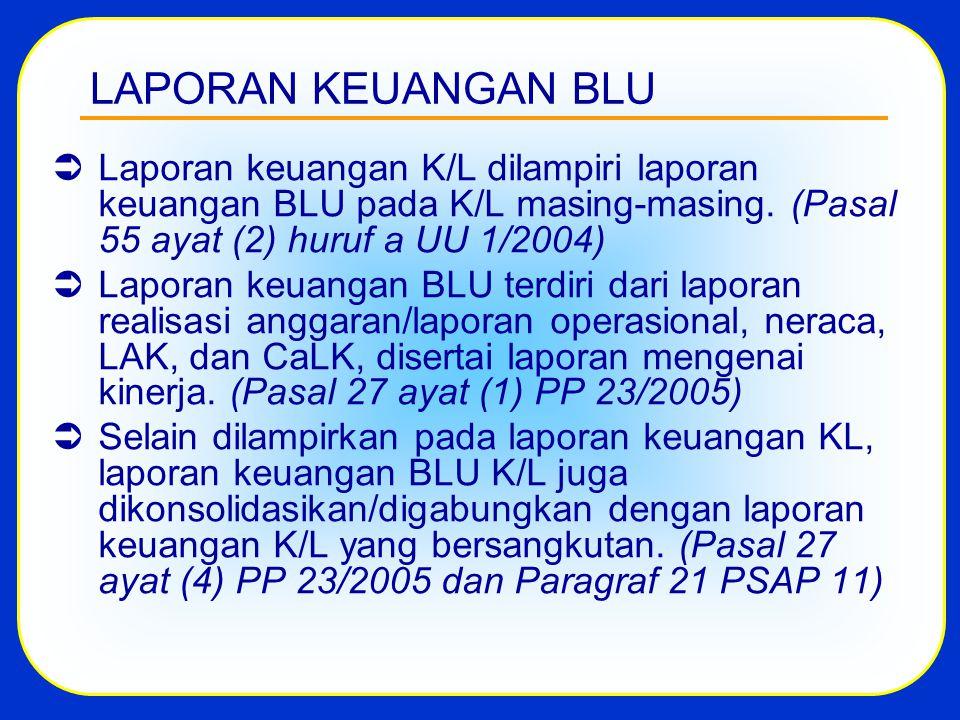 LAPORAN KEUANGAN BLU Laporan keuangan K/L dilampiri laporan keuangan BLU pada K/L masing-masing. (Pasal 55 ayat (2) huruf a UU 1/2004)