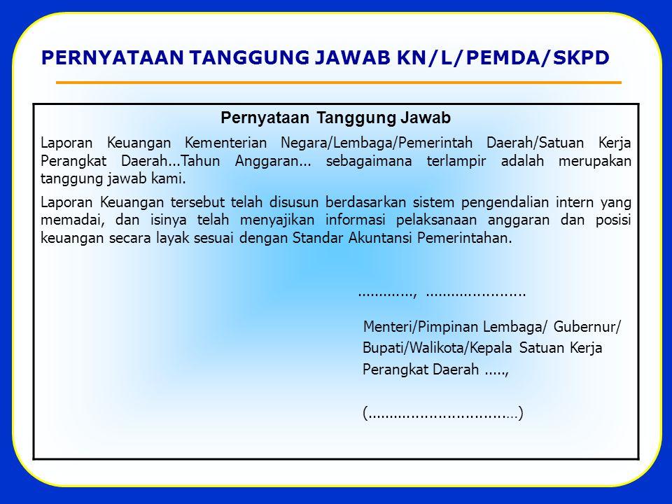 PERNYATAAN TANGGUNG JAWAB KN/L/PEMDA/SKPD