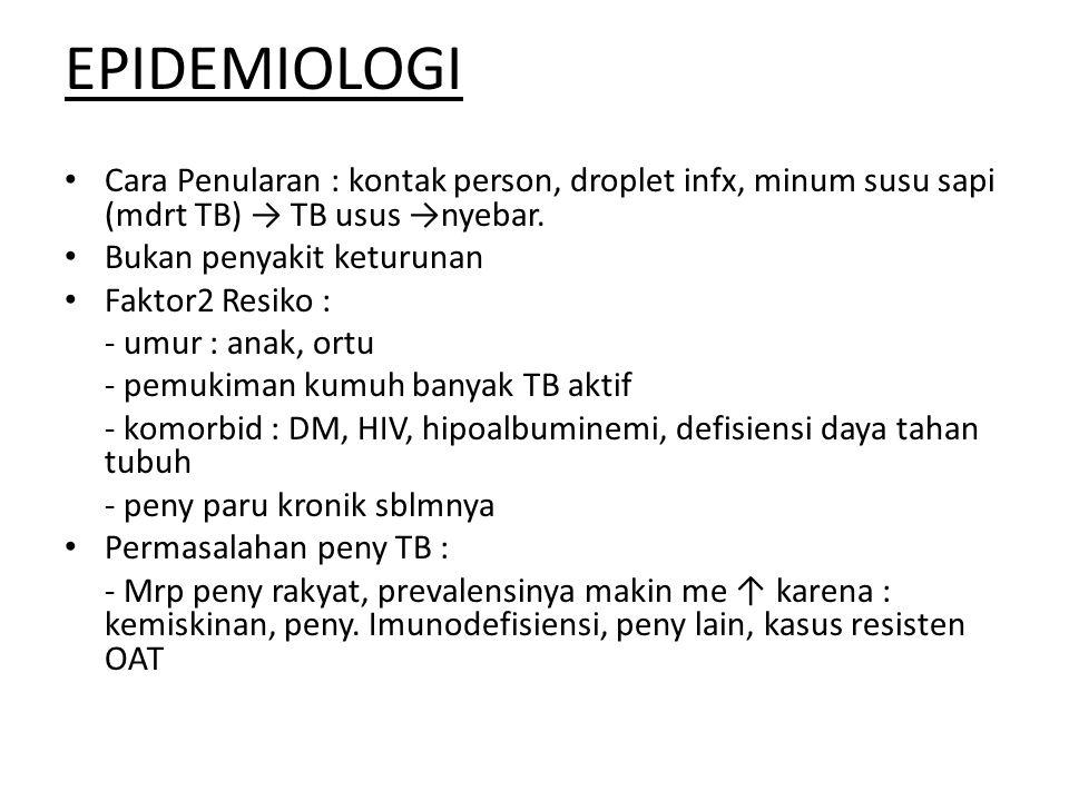 EPIDEMIOLOGI Cara Penularan : kontak person, droplet infx, minum susu sapi (mdrt TB) → TB usus →nyebar.