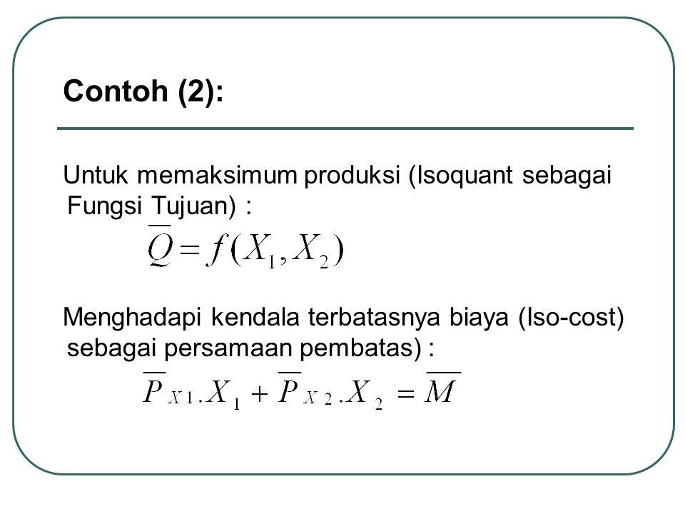 Contoh (2): Untuk memaksimum produksi (Isoquant sebagai Fungsi Tujuan) :