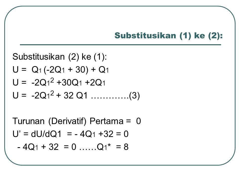 Substitusikan (1) ke (2):