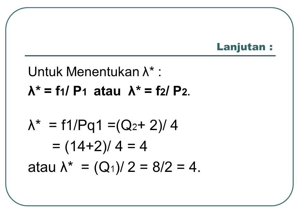 λ* = f1/Pq1 =(Q2+ 2)/ 4 = (14+2)/ 4 = 4 atau λ* = (Q1)/ 2 = 8/2 = 4.
