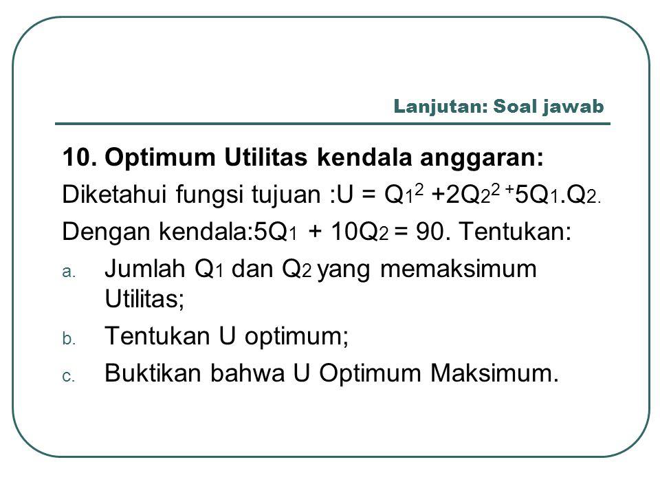 10. Optimum Utilitas kendala anggaran: