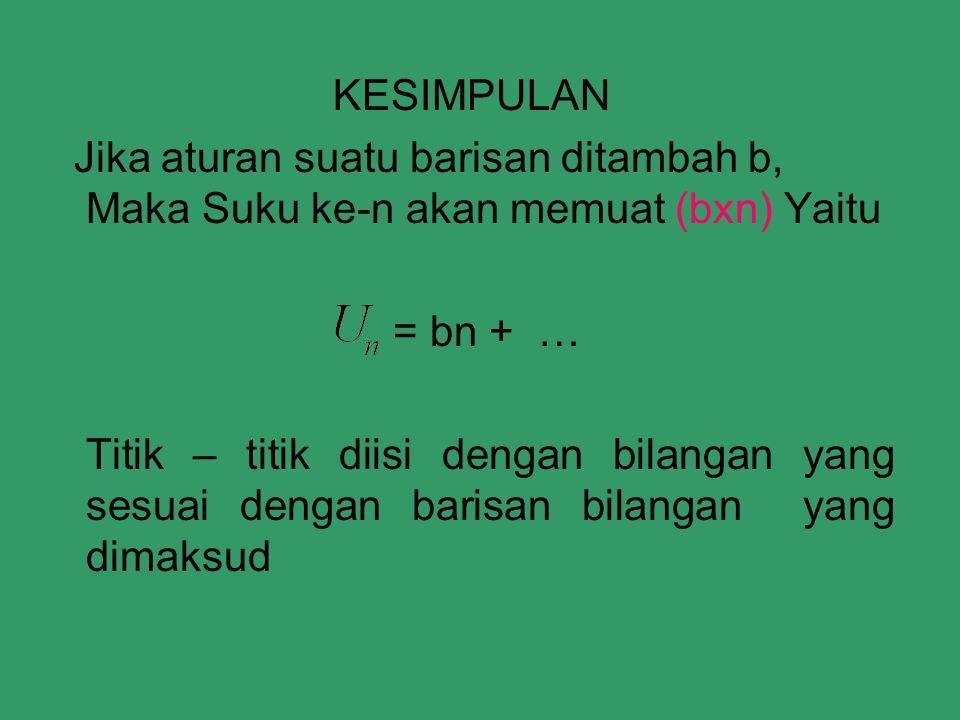 KESIMPULAN Jika aturan suatu barisan ditambah b, Maka Suku ke-n akan memuat (bxn) Yaitu. = bn + …