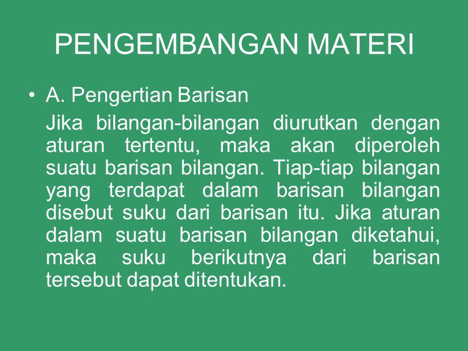 PENGEMBANGAN MATERI A. Pengertian Barisan