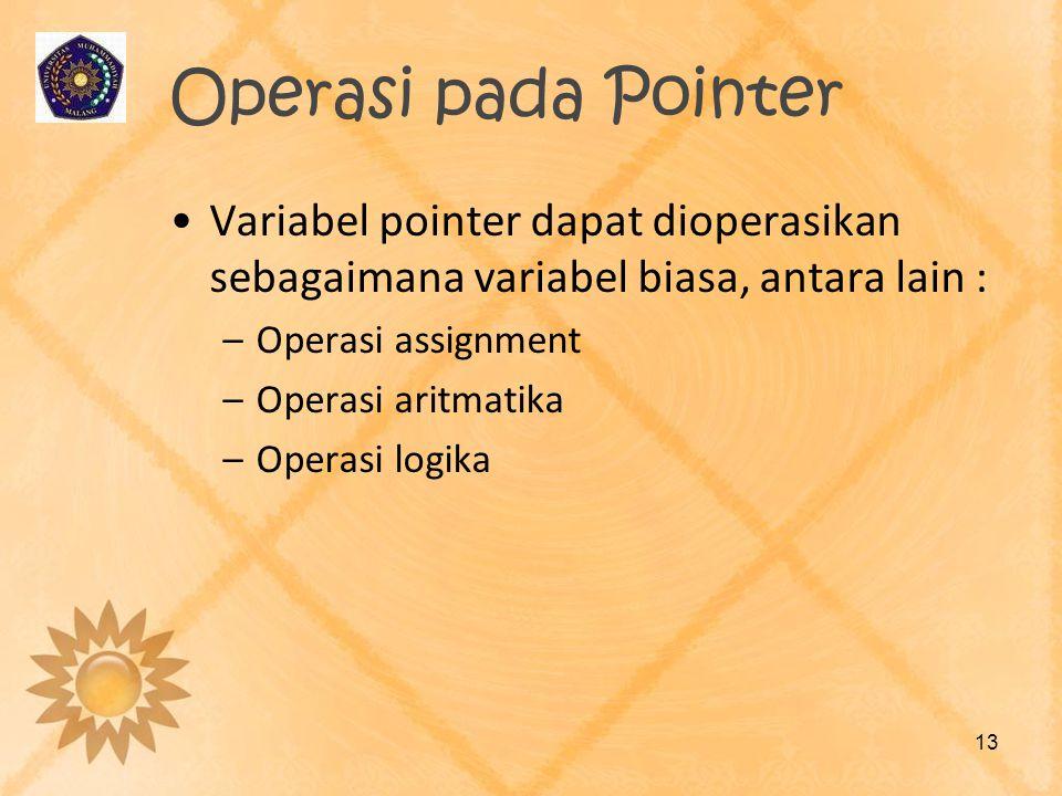 Operasi pada Pointer Variabel pointer dapat dioperasikan sebagaimana variabel biasa, antara lain : Operasi assignment.
