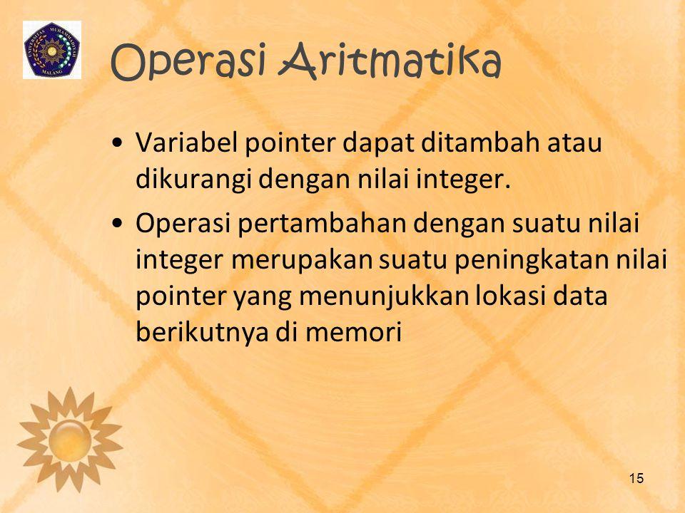 Operasi Aritmatika Variabel pointer dapat ditambah atau dikurangi dengan nilai integer.