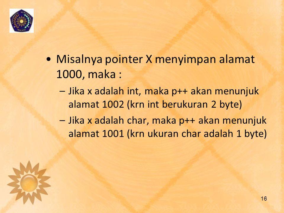 Misalnya pointer X menyimpan alamat 1000, maka :