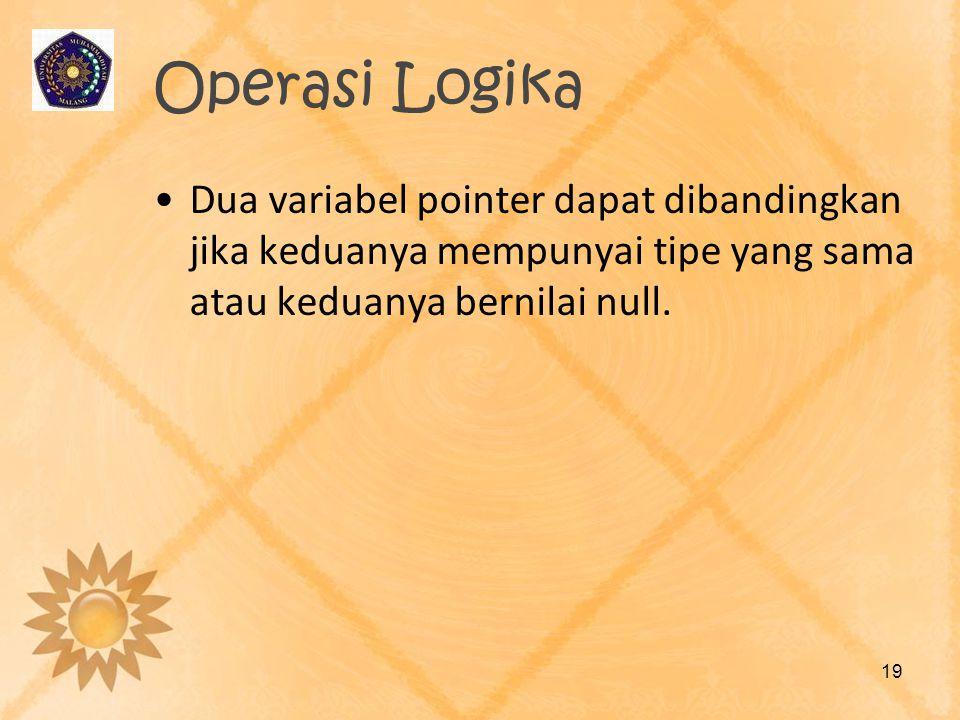 Operasi Logika Dua variabel pointer dapat dibandingkan jika keduanya mempunyai tipe yang sama atau keduanya bernilai null.