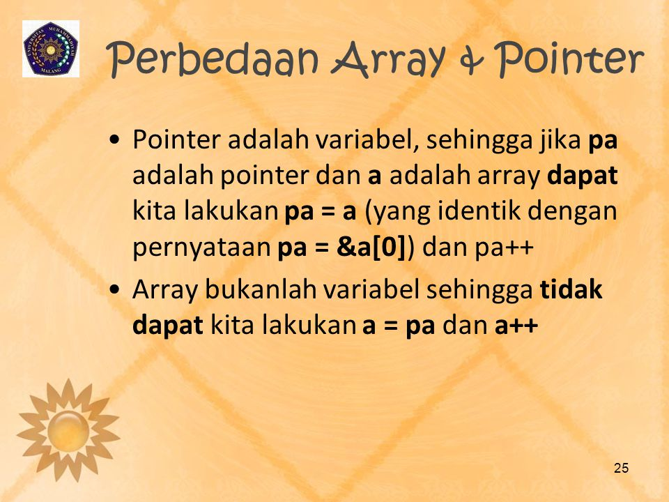 Perbedaan Array & Pointer