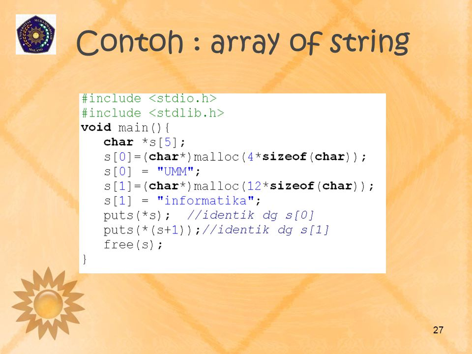 Contoh : array of string