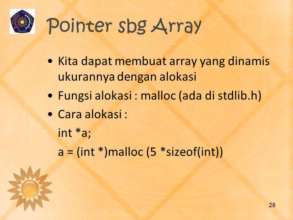 Pointer sbg Array Kita dapat membuat array yang dinamis ukurannya dengan alokasi. Fungsi alokasi : malloc (ada di stdlib.h)
