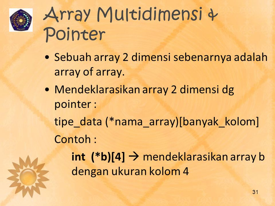Array Multidimensi & Pointer