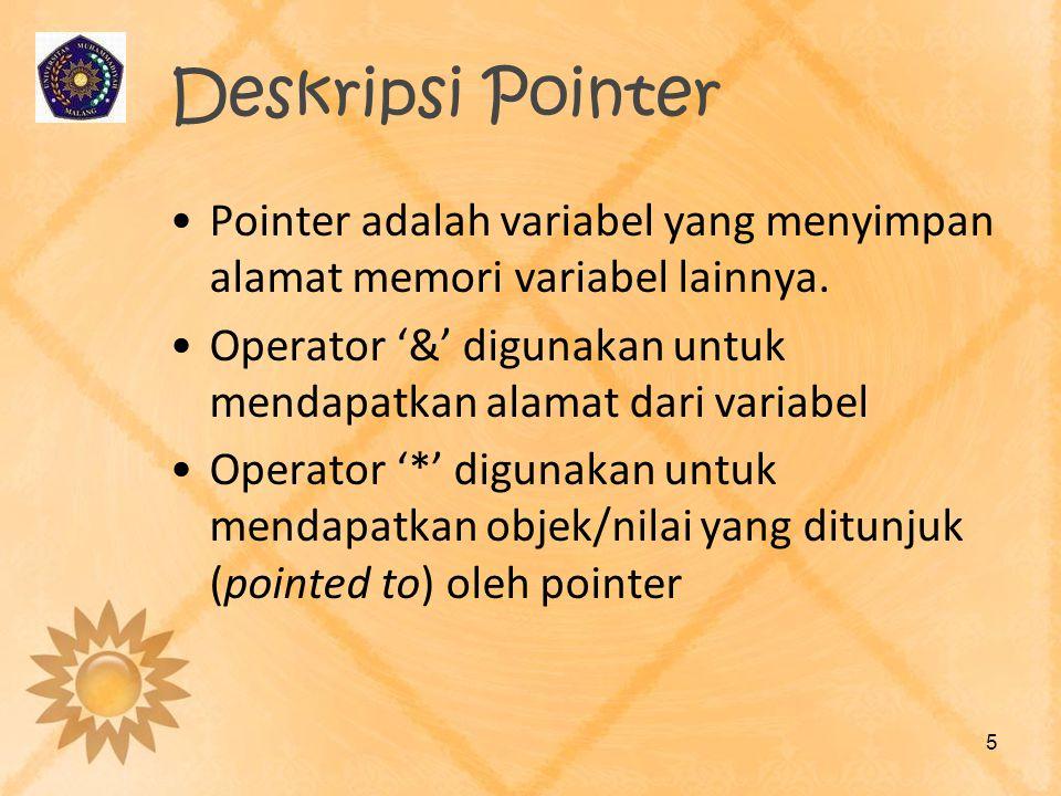 Deskripsi Pointer Pointer adalah variabel yang menyimpan alamat memori variabel lainnya.