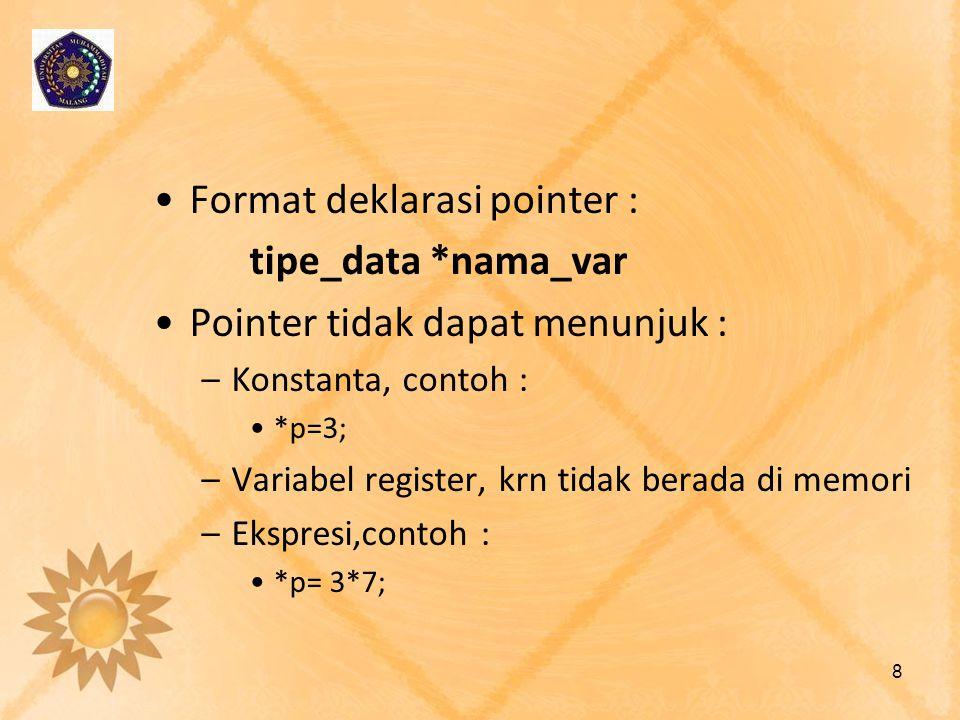 Format deklarasi pointer : tipe_data *nama_var