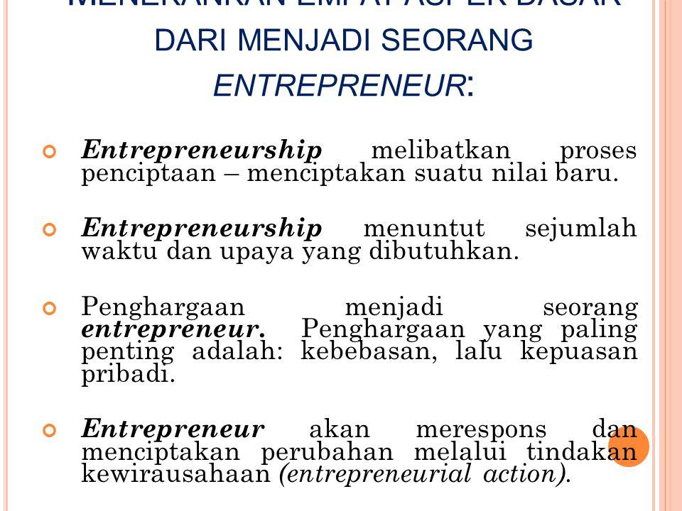 Menekankan empat aspek dasar dari menjadi seorang entrepreneur: