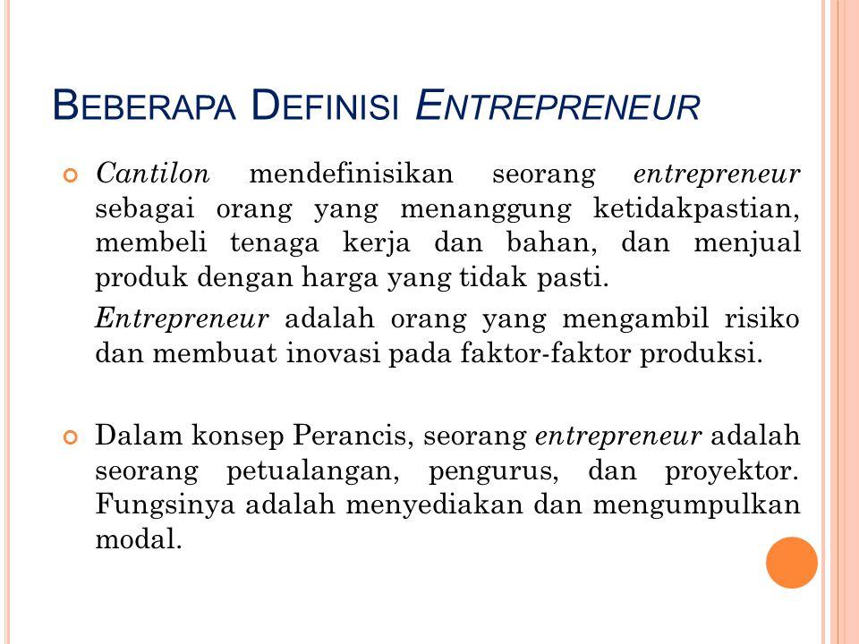 Beberapa Definisi Entrepreneur