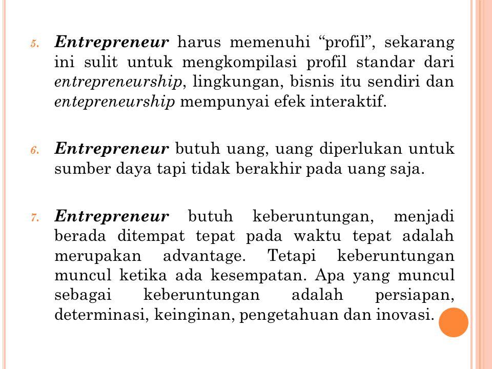 Entrepreneur harus memenuhi profil , sekarang ini sulit untuk mengkompilasi profil standar dari entrepreneurship, lingkungan, bisnis itu sendiri dan entepreneurship mempunyai efek interaktif.