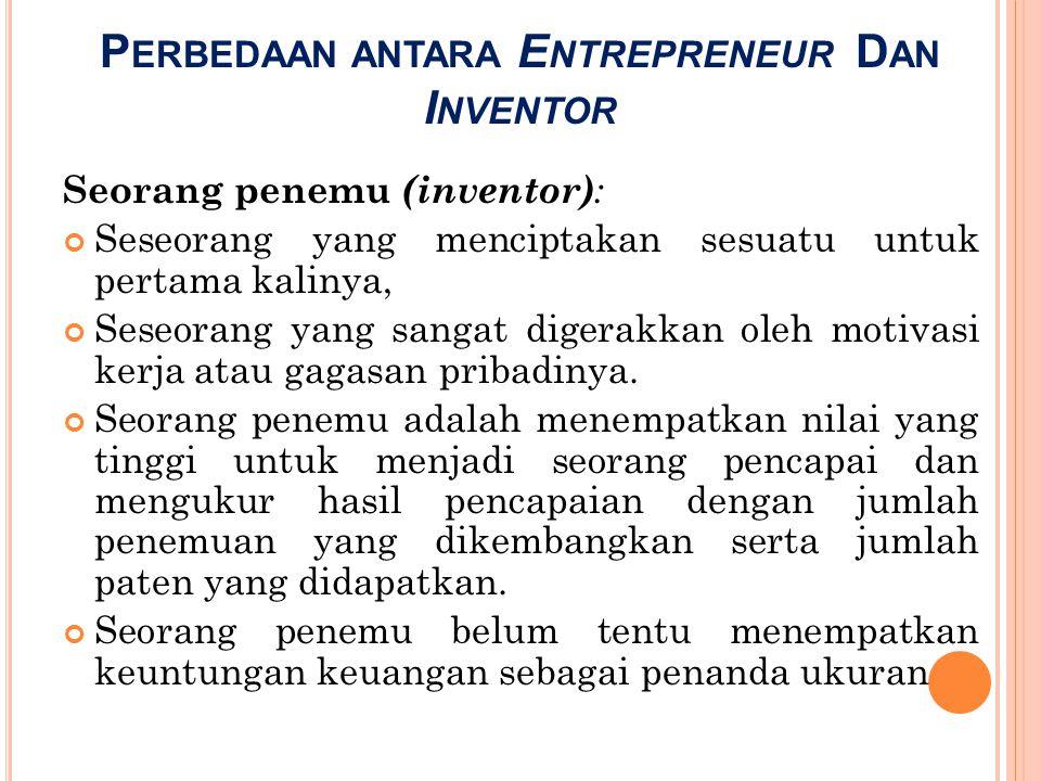 Perbedaan antara Entrepreneur Dan Inventor