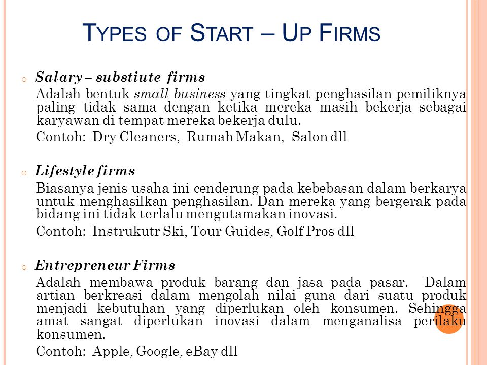 Types of Start – Up Firms