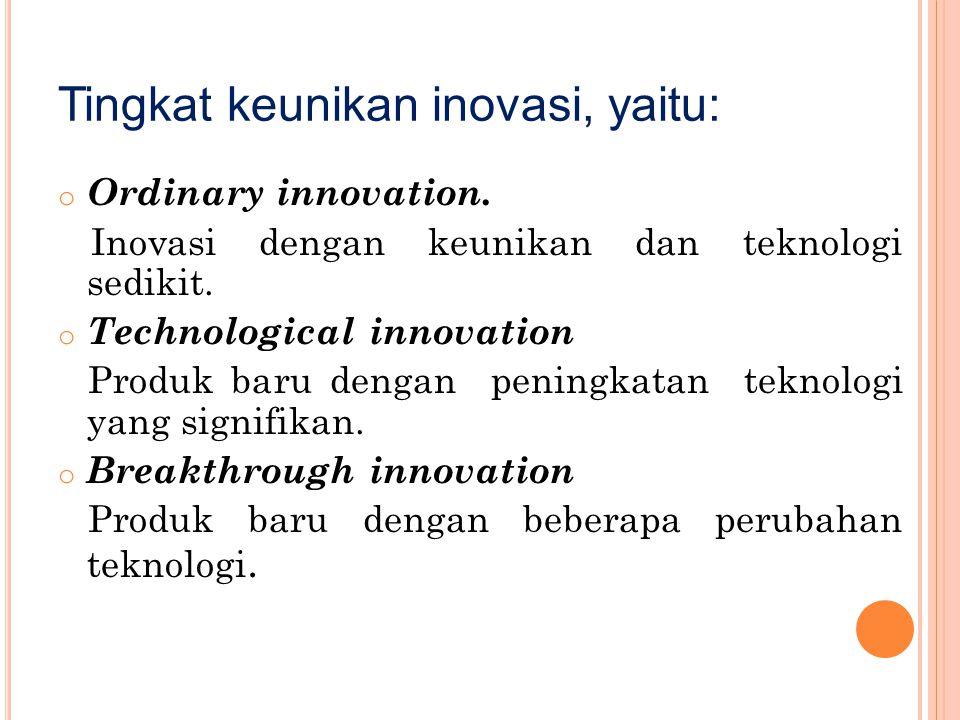Tingkat keunikan inovasi, yaitu: