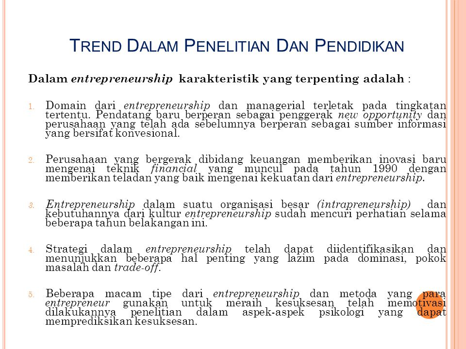 Trend Dalam Penelitian Dan Pendidikan