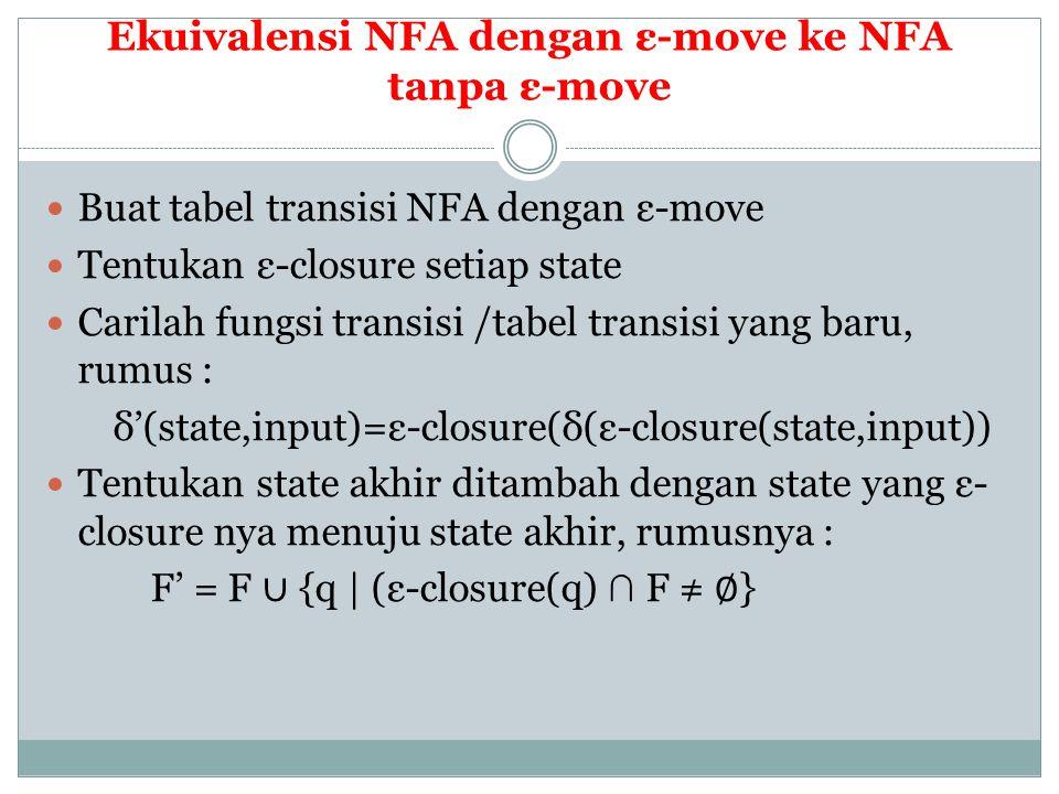 Ekuivalensi NFA dengan ε-move ke NFA tanpa ε-move