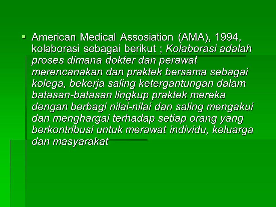 American Medical Assosiation (AMA), 1994, kolaborasi sebagai berikut ; Kolaborasi adalah proses dimana dokter dan perawat merencanakan dan praktek bersama sebagai kolega, bekerja saling ketergantungan dalam batasan-batasan lingkup praktek mereka dengan berbagi nilai-nilai dan saling mengakui dan menghargai terhadap setiap orang yang berkontribusi untuk merawat individu, keluarga dan masyarakat