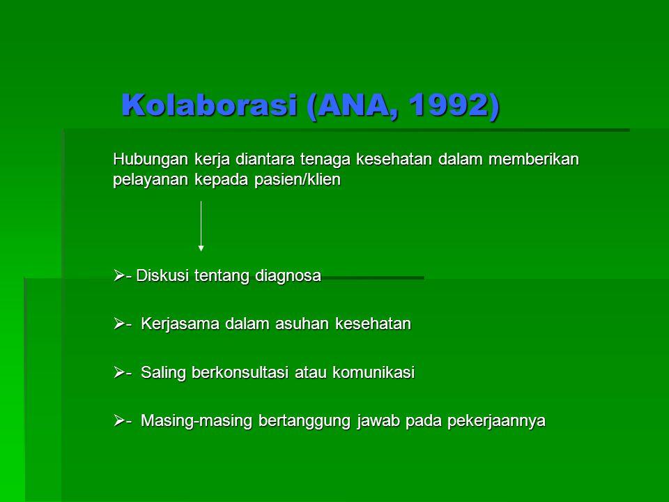 Kolaborasi (ANA, 1992) Hubungan kerja diantara tenaga kesehatan dalam memberikan pelayanan kepada pasien/klien.