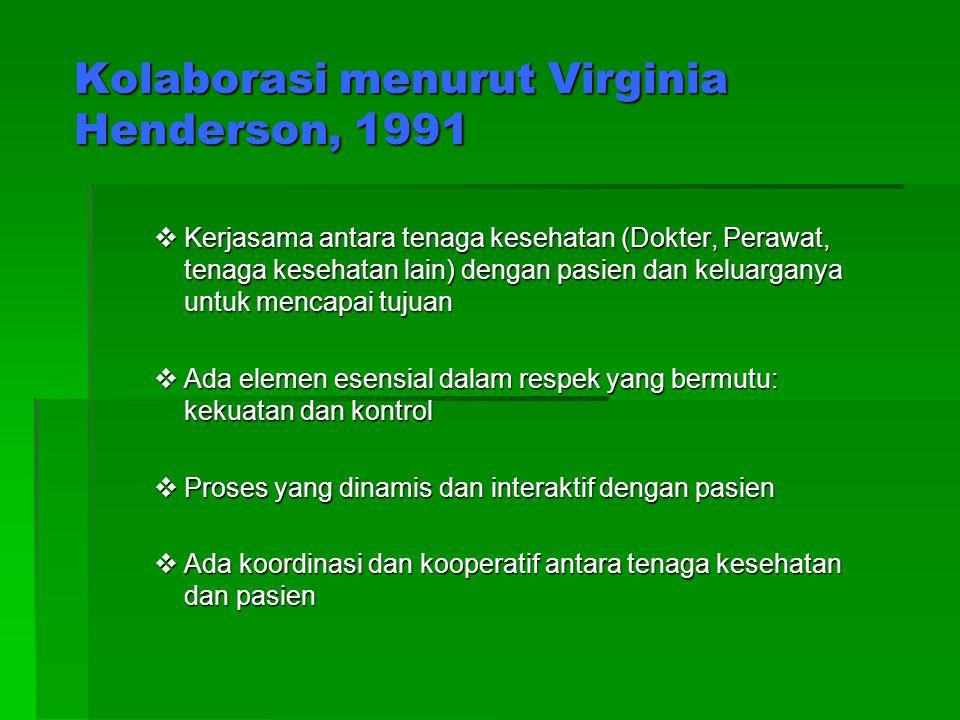 Kolaborasi menurut Virginia Henderson, 1991