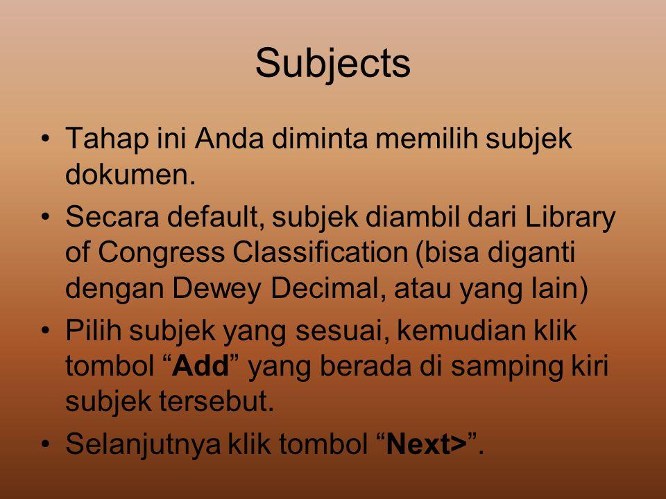 Subjects Tahap ini Anda diminta memilih subjek dokumen.