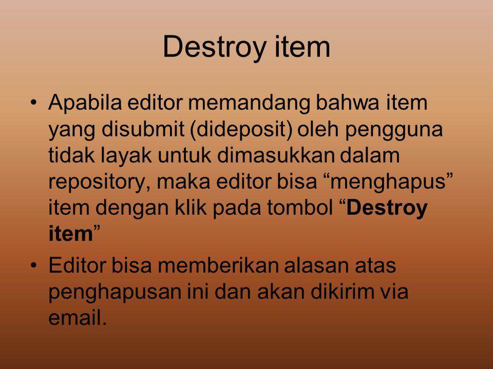 Destroy item