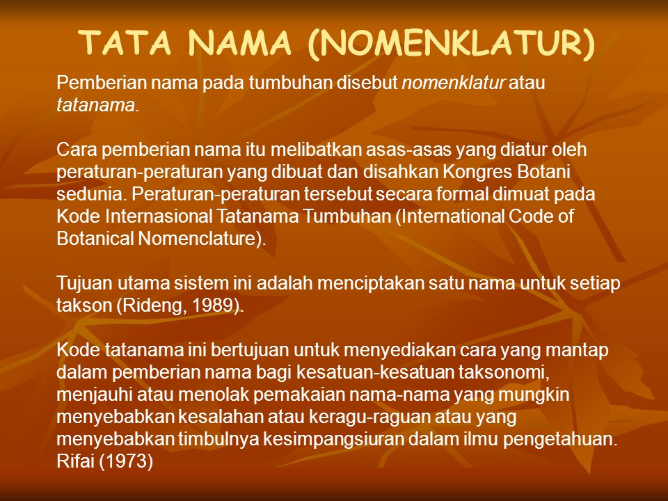 TATA NAMA (NOMENKLATUR)