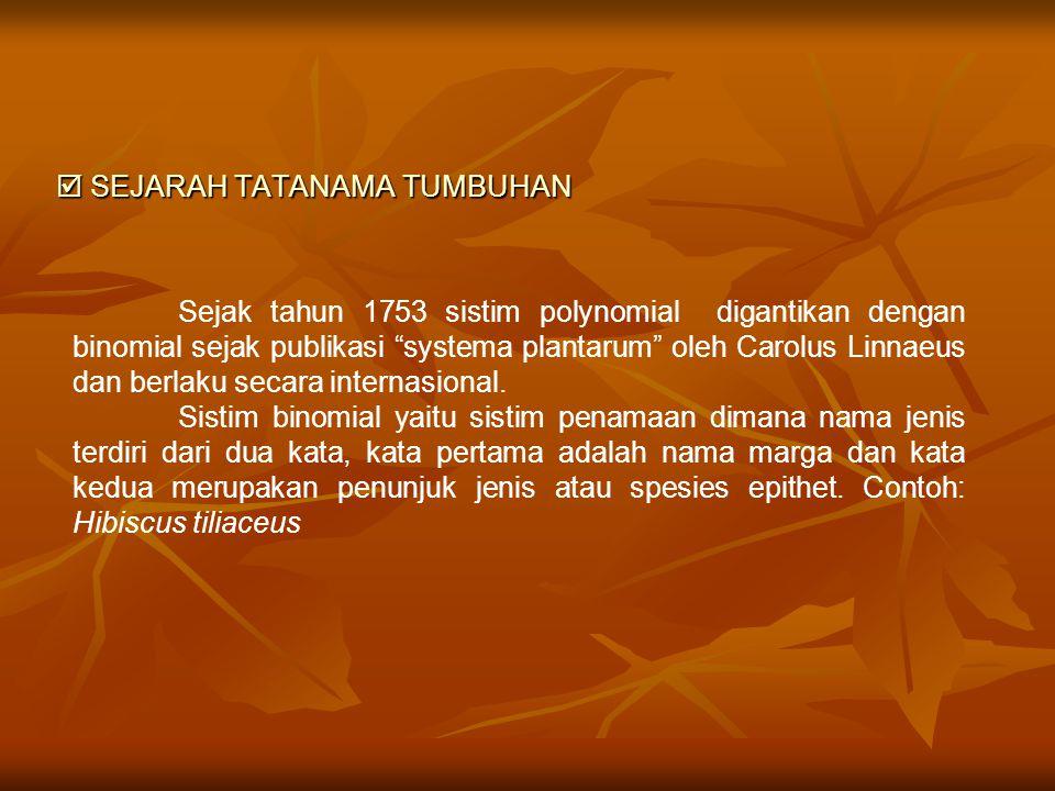  SEJARAH TATANAMA TUMBUHAN