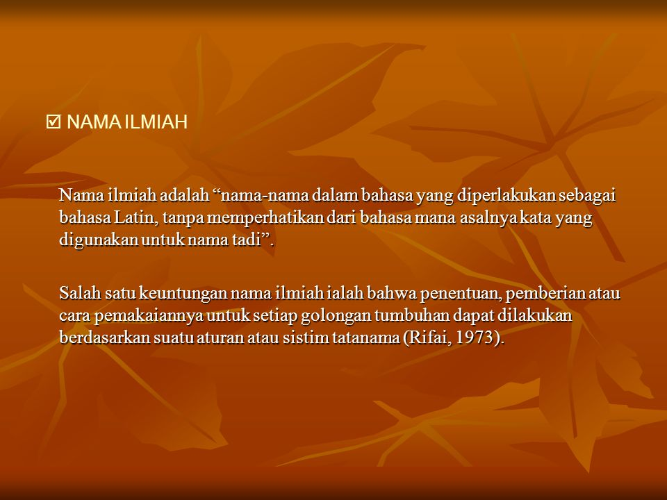  NAMA ILMIAH