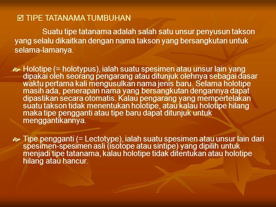  TIPE TATANAMA TUMBUHAN