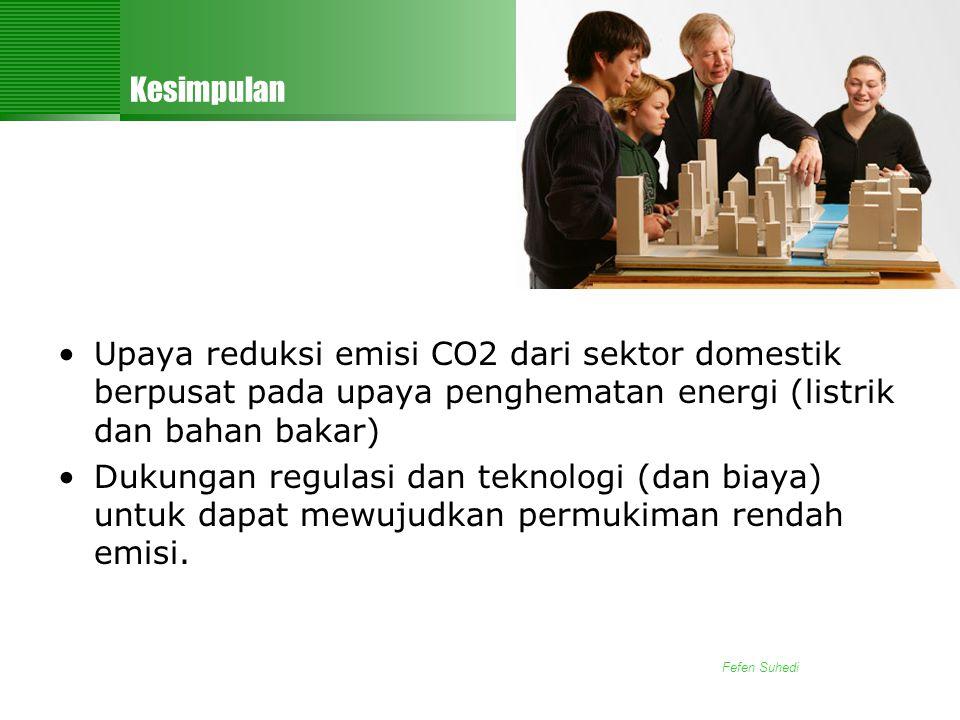 Kesimpulan Upaya reduksi emisi CO2 dari sektor domestik berpusat pada upaya penghematan energi (listrik dan bahan bakar)