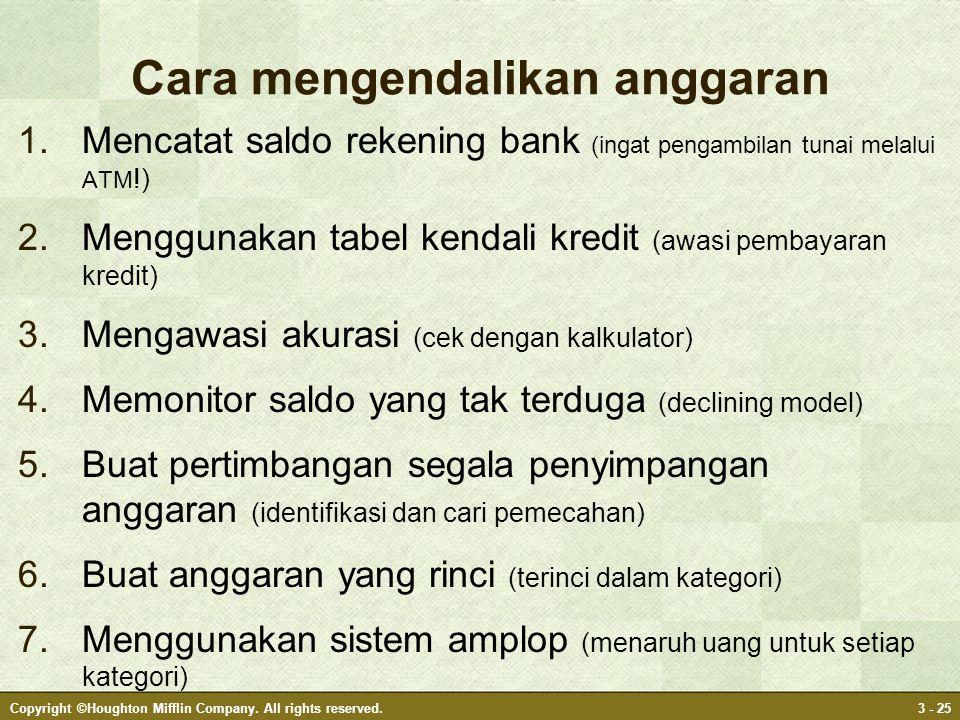 Cara mengendalikan anggaran