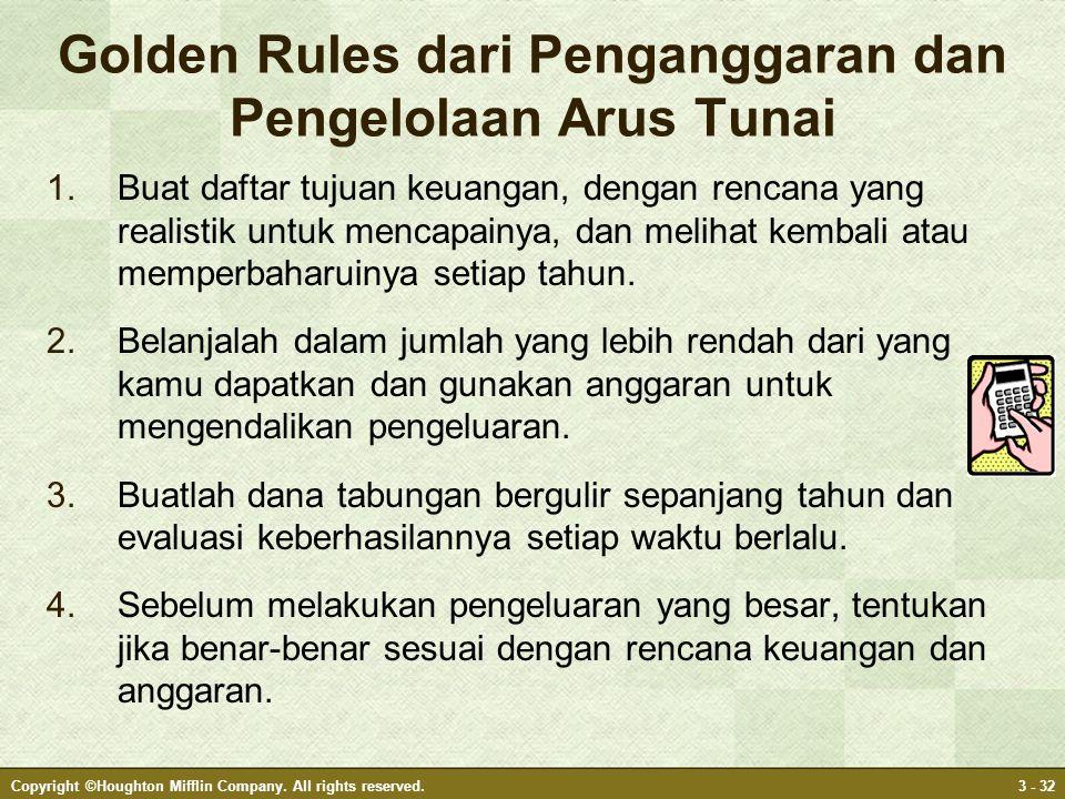 Golden Rules dari Penganggaran dan Pengelolaan Arus Tunai