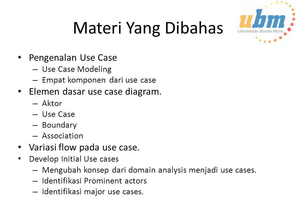Materi Yang Dibahas Pengenalan Use Case Elemen dasar use case diagram.