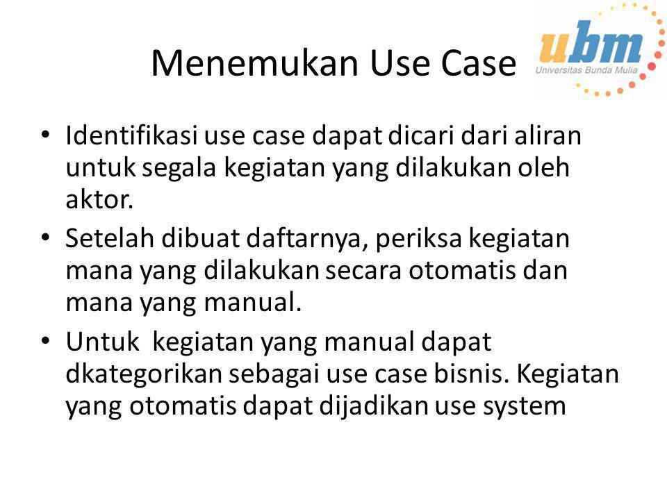 Menemukan Use Case Identifikasi use case dapat dicari dari aliran untuk segala kegiatan yang dilakukan oleh aktor.