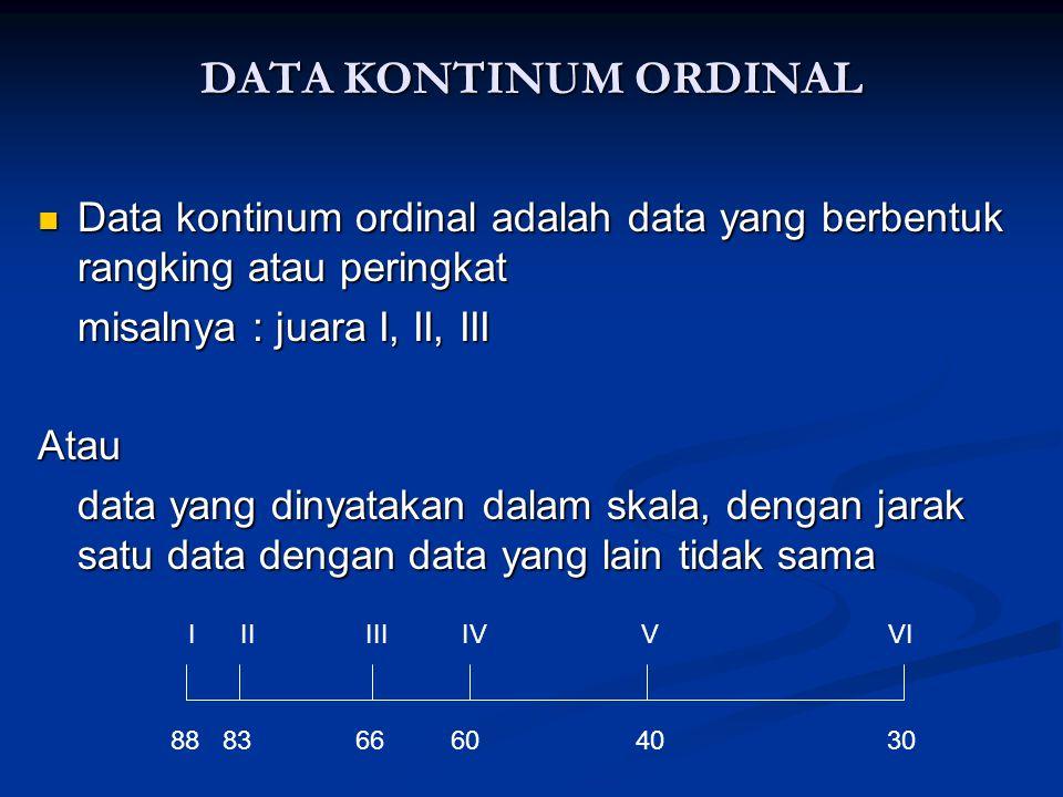 DATA KONTINUM ORDINAL Data kontinum ordinal adalah data yang berbentuk rangking atau peringkat. misalnya : juara I, II, III.