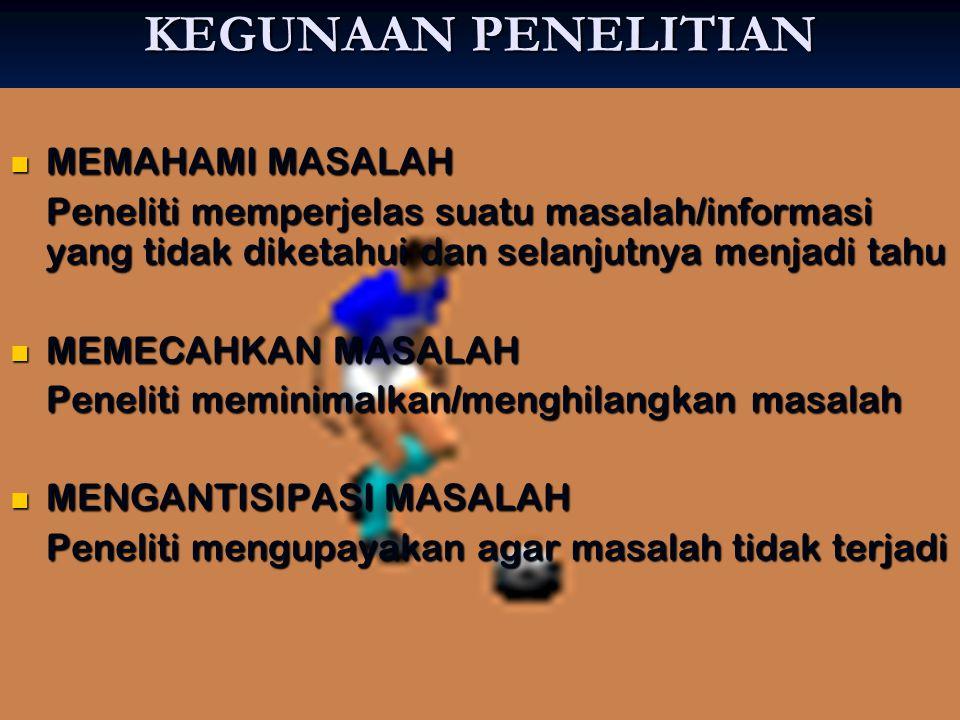 KEGUNAAN PENELITIAN MEMAHAMI MASALAH