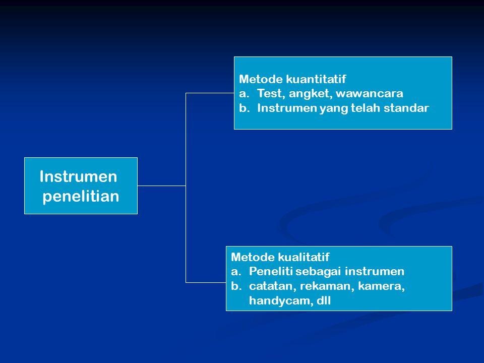 Instrumen penelitian Metode kuantitatif Test, angket, wawancara