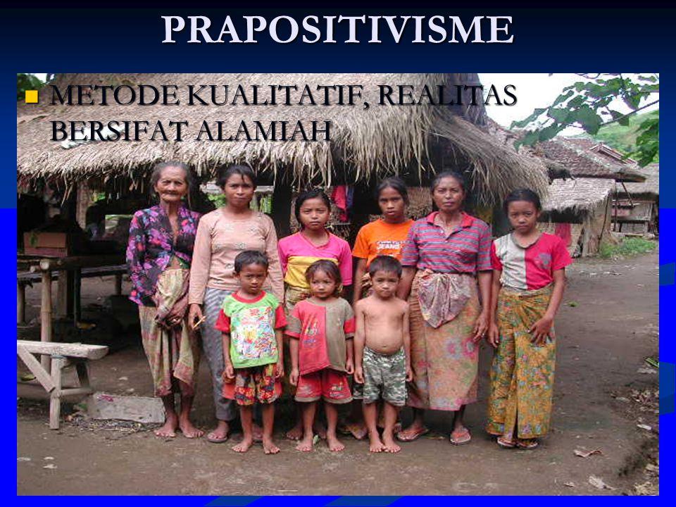 PRAPOSITIVISME METODE KUALITATIF, REALITAS BERSIFAT ALAMIAH