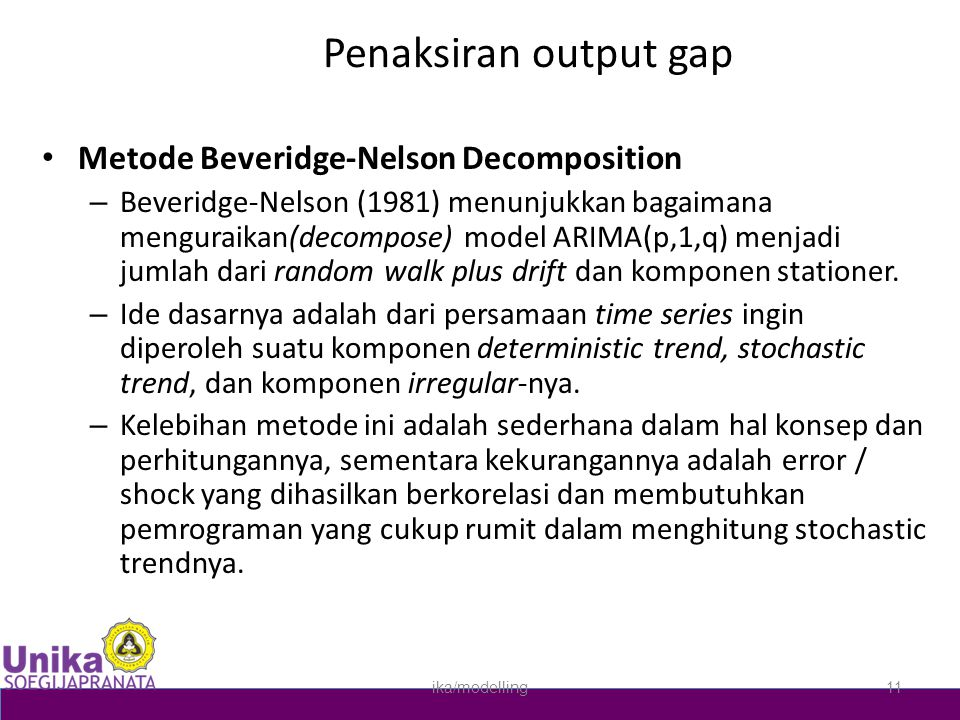 Penaksiran output gap Metode Beveridge-Nelson Decomposition